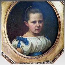 Antique German Oil Portrait Young Girl Dated 1864