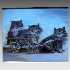 Miniature Painting of Kittens in a Wagon Signed Dated 1912