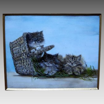 Miniature Painting of Kittens in a Basket Signed Dated 1912
