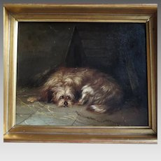 Antique Oil Painting Terrier Lying by His Doghouse