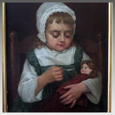 Benoni Irwin Oil Portrait Young Girl Feeding Her Doll