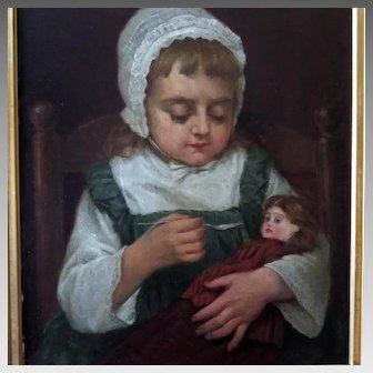 Benoni Irwin Oil Portrait Young Girl Feeding Her Doll