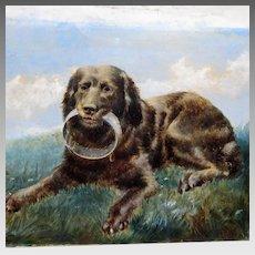 Antique English School Gun Dog Dated 1864