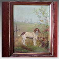 Antique Dog Portrait Memorial Painting  Setter in Landscape