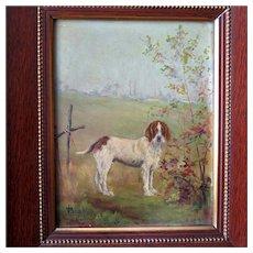 Antique Dog Portrait Memorial Painting  Setter in Landscape