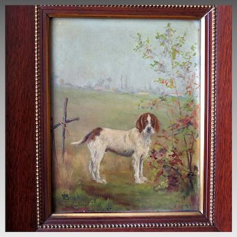 Antique Memorial Oil Painting of Setter in Landscape