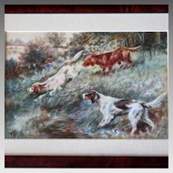 Small Watercolor Painting Hunting Dogs Gun dogs on Point