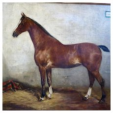 Large Horse Portrait Painting by French Artist Paul Le More