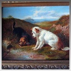 19th Century Oil Painting Terriers Rabbiting