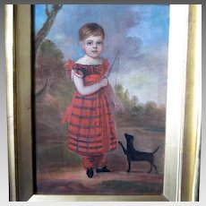 19th Century Primitive Painting Child and Dog Folk Art Artist Signed