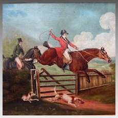 19th Century English Hunt Scene Horse and Hounds Sporting Painting After Thomas Henry Alken