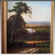 Antique Landscape Oil Painting by American Artist Francis Snowe