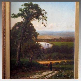 Antique Landscape Oil Painting by American Artist Francis Snowe