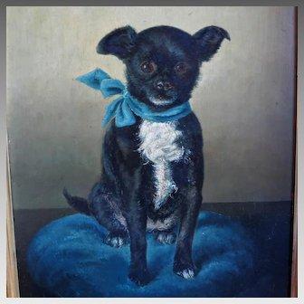 Dog Portrait Painting Belgium 19th Century Signed