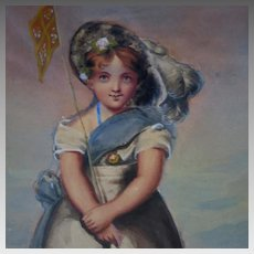 19th Century English School Folk Art Watercolor Young Girl Holding a Flag