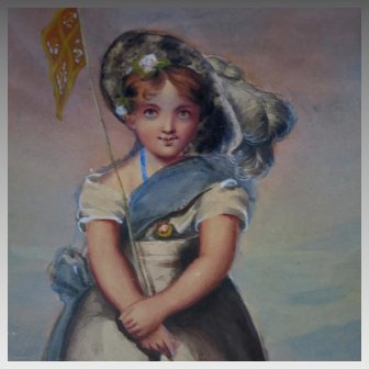 19th Century English School Watercolor Young Girl Holding a Flag