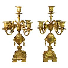 19th Century Pair Gilded Bronze Candelabra