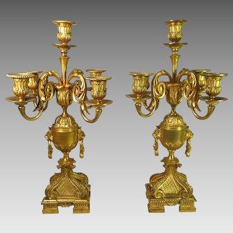 19th Century Pair Gilded Bronze Candelabra