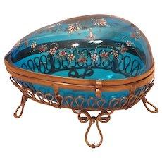 Large Antique Bohemian Enameled Glass Egg Casket