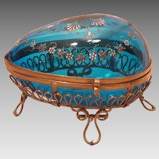 Large Antique Bohemian Enameled Glass Egg Casket
