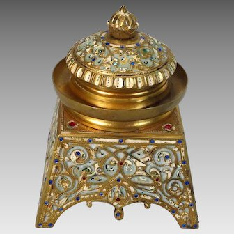 Antique French Jeweled Bronze Inkwell Art Nouveau