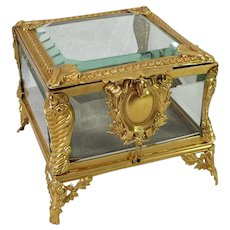 French Napoleon III Dore Bronze Crystal Jewelry Box