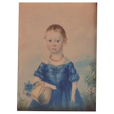 Early 19th Century Folk Art Portrait Girl in Blue Dress