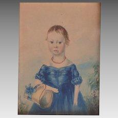 Early 19th Century Folk Art Portrait Girl in Blue Dress