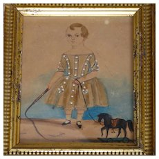 Early 19th Century Folk Art Watercolor Painting Young Boy