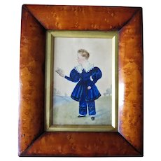 Early 19th Century Folk Art Watercolor Painting Young Boy Reading Book Dated 1834