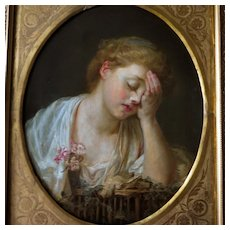 19th Century Girl with Dead Canary After Jean-Baptiste Greuze Oil Portrait