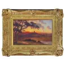 Edward Henry Holder Oil Landscape Windmill at Sunset