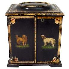 Victorian Lacquer Papier Mache Sewing Box Jewelry Box Spaniel Terrier