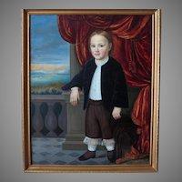 Paul Weber (1823-1916) Original American Folk Art Portrait Of Young Boy
