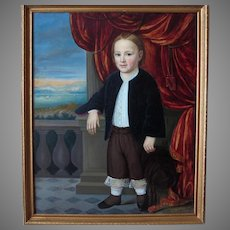 Paul Weber (1823-1916) Original American Folk Art Portrait Of Young Boy