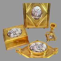 Rare Gilded Bronze Desk Set with Sevres Style Miniature Paintings 4 Piece Museum Quality