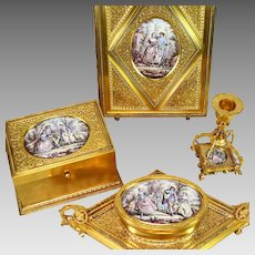 Rare Gilded Bronze Desk Set with Miniature Paintings 4 Piece Museum Quality