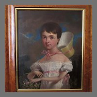 19th Century Original Folk Art Portrait of Young Girl Picking Flowers