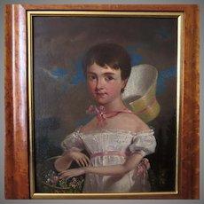 19th Century Original Folk Art Portrait of Young Girl Picking Flowers