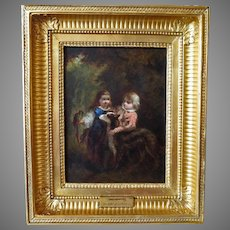 19th Century Young Children with Parrot and Dog Oil Painting After Diaz De La Pena