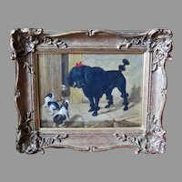 Dog Painting Black Poodle and Terrier Puppies