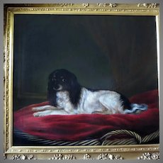 19th Century Large Dog Oil Portrait Cavalier King Charles Spaniel