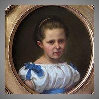 19th Century Oil Portrait Young Girl German School