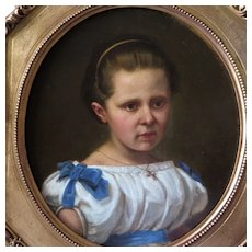 19th Century Oil Portrait Young Girl German School