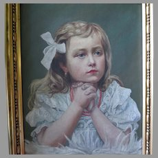 Oil Portrait Beautiful Young Girl Wearing Coral Necklace and Lace Dress