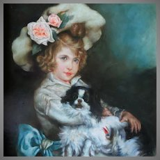 Beautiful Young Girl with Beloved Pet Dog Oil Painting