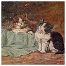 Antique Oil Painting Two Playful Kittens Signed