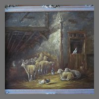Sheep in Stall Oil Painting by Dutch Artist Jan Hovener