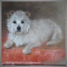 Large White Terrier Dog Pastel Portrait English School Signed Monogram