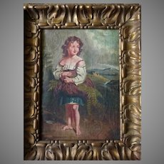 19th Century Continental Oil Painting of Young Girl Gathering Ferns in Carved Frame